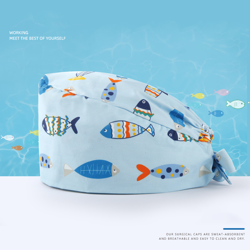 Океаническая хирургическая шапочка с принтом, медицинская шапочка для медсестры, рабочая шапка s, хлопок, шапка для больниц, повара с черепом, шапки для работы