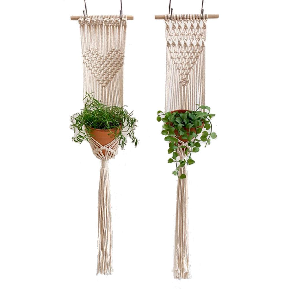 Macrame Plant Hanger Knitted Tapestry Wall Hanging Bohemian Tapestry Tree Flower Pot Countyard Home Wall Decoration Macrame