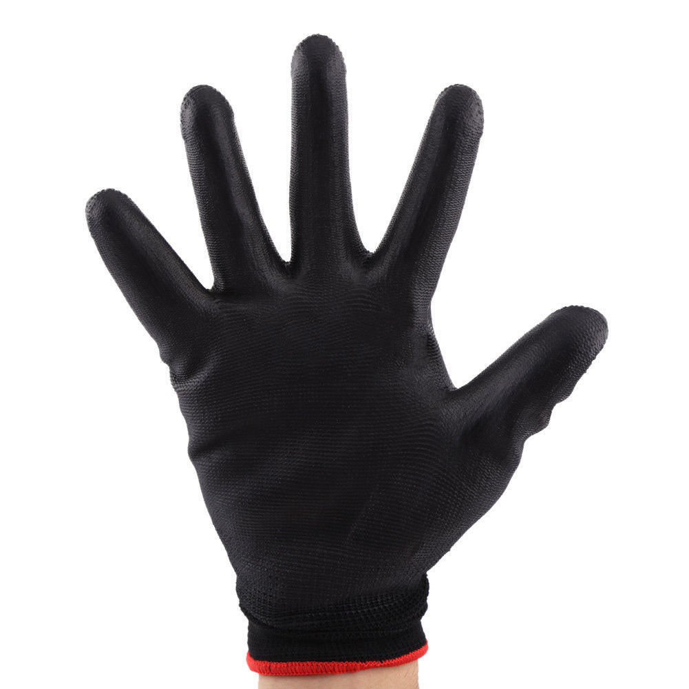 1/12/24 Pairs PU Nylon Safety Coating Work Gloves Builders Palm Protect S M L CA