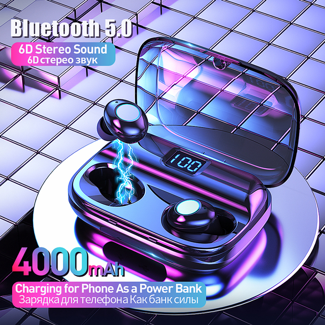 TWS Bluetooth V5.0 Earphone Wireless Headphones Noise Cancelling  IPX6 Waterproof 6D Stereo Sport Headset Earbuds 4000mAh Power