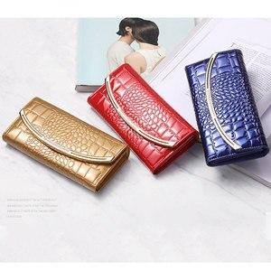 Image 4 - Moda nowy portfel ze skóry naturalnej kobiet o dużej pojemności luksusowy design torebka z uchwytem ze skóry lakierowanej dla kobiet ze skóry wołowej