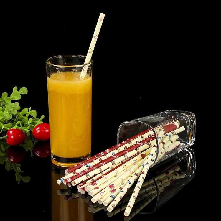 Color Cartoon Biodegradable Milk Tea Drink Paper Straw Disposable Paper-plastic Stick Straw