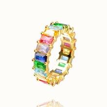 Осеннее стильное Радужное кольцо, Золотое циркониевое женское кольцо, роскошное регулируемое обручальное кольцо, вечерние ювелирные изделия для женщин, подарок
