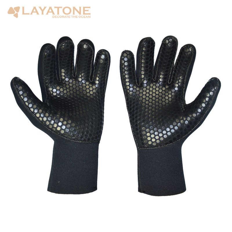Layaton Wetsuit eldiven erkekler 5mm neopren dalış eldiveni Spearfishing yüzme sörf sualtı avcılık tüplü ücretsiz dalış kayık
