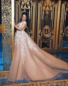 Image 3 - כהה עירום שנהב כדור שמלת חתונת שמלות כבוי כתף תחרה טול ערב ערבית חתונת שמלות כלה שמלות תחרה עד מותאם אישית