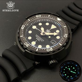 1975 pierwszy konserwa z tuńczyka zegarek nurkowy Super Luminous automatyczny zegarek człowiek mechaniczny zegarek NH35 300M Diver zegarki szafirowe tanie i dobre opinie STEELDIVE 30Bar Składane zapięcie z bezpieczeństwem SPORT Nurkowanie Mechaniczna Ręka Wiatr Automatyczne self-wiatr