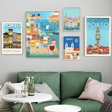Puerto Catedral Portugal música casa Vintage viaje cartel lienzo pintura cartel de papel Kraft recubierto pared pegatina hogar Decoración regalo