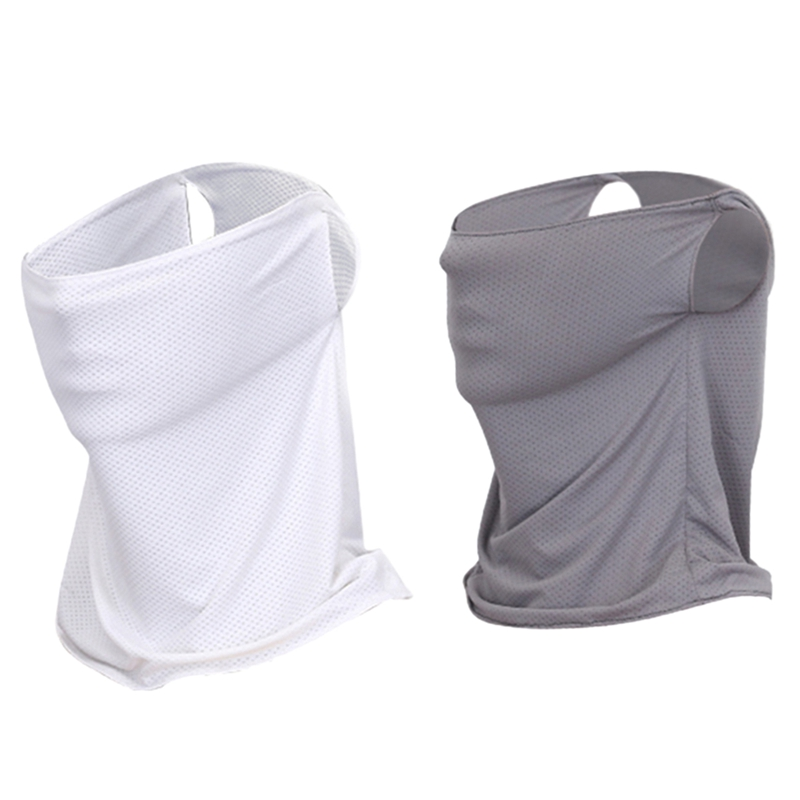 Hot 2Pcs New Golf Sunscreen Collar Ice Stretch Breathable Golf Sunscreen Masks Grey With White