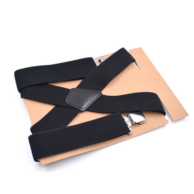 Men's 50mm Wide Elastic Adjustable Men Trouser Braces Suspenders X Shape with <font><b>Strong</b></font> Metal Clips Suspensorio Apparel Accessories image