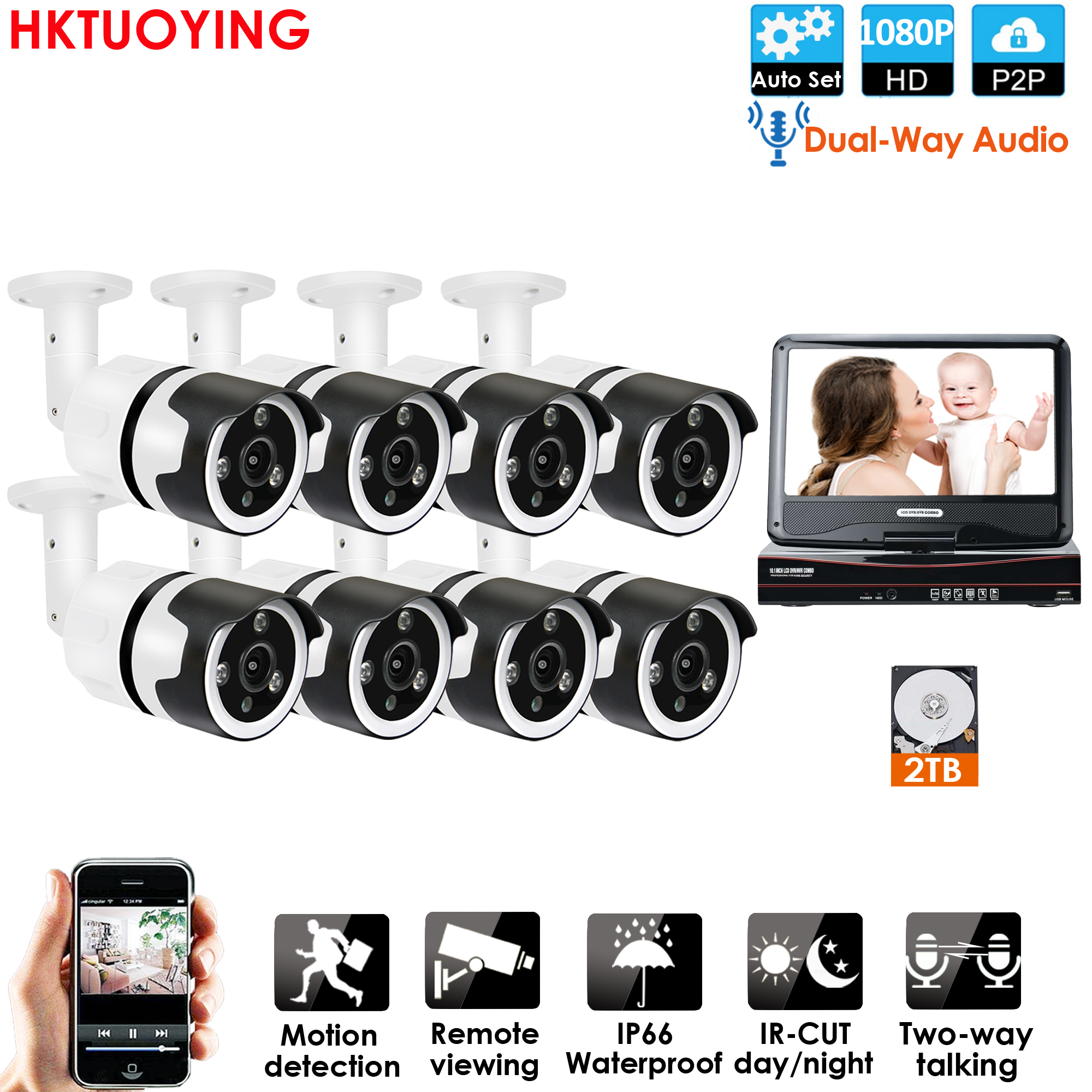 8CH two way audio talK HD Wireless LCDNVR Kit P2P 1080P Indoor Outdoor IR Night Vision Security 2.0MP IP Camera WIFI CCTV System|Surveillance System| |  - title=