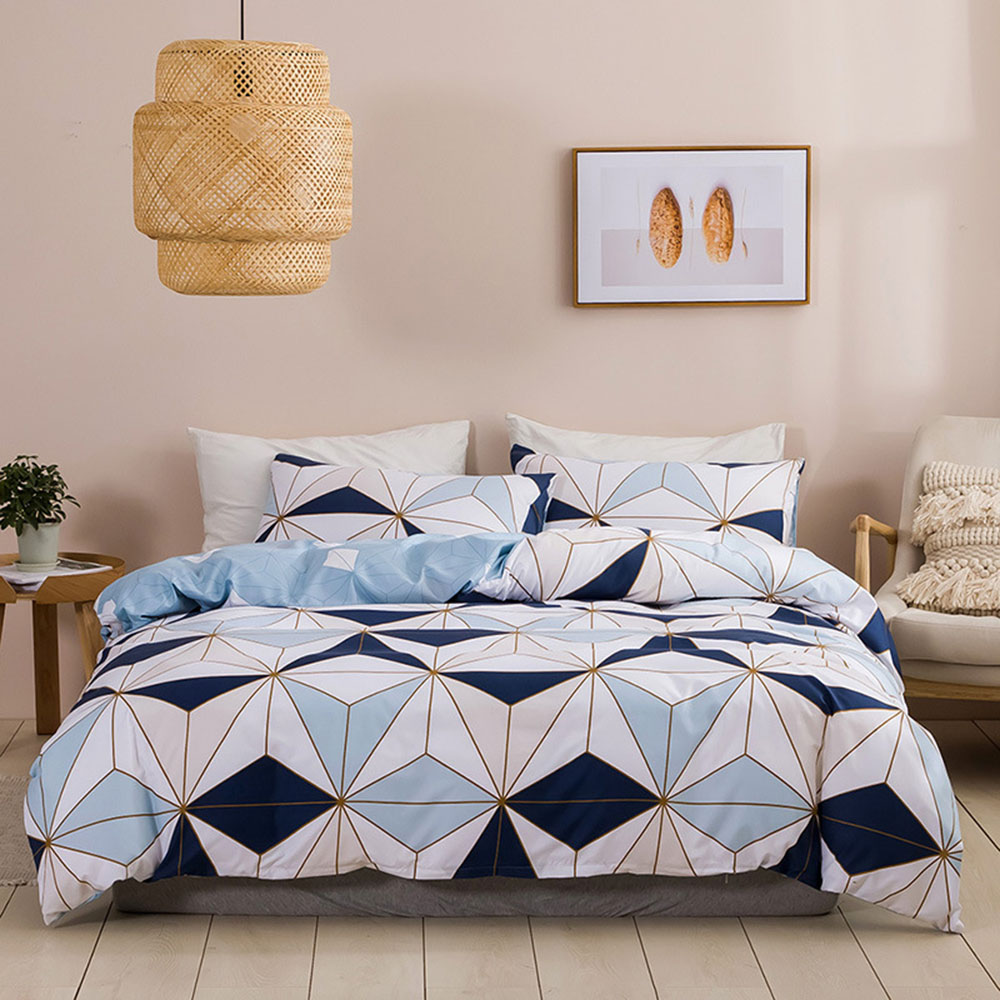 Bedding quilt cover, down quilt cover with urban stripes, quilt cover with pillowcase, double large king size (2/3 piece set)