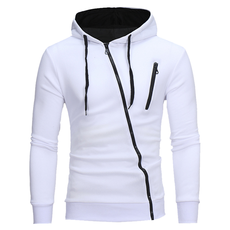 CYSINCOS Men Solid Hoodie Patchwork Hoodies Mens Diagonal Zipper Jacket Hiphop Sweatshirts Men Hoody Harujuku Clothes Streetwear