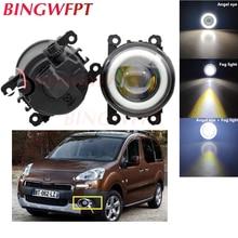 2x High power H11 LED Fog Lamps Angel Eye light with Glass len For Peugeot Bipper Tepee 2008-2018 For Peugeot 301 2013-2017