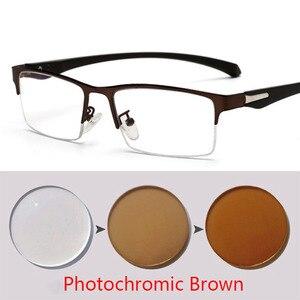 Image 4 - Soleil photochromique myopie lunettes hommes fini caméléon lentille Prescription lunettes demi métal cadre 0.5  0.75  1.0  2 à 6