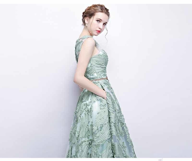 N personnalisé Floral Applique Illusion vert de luxe robe de soirée grande taille robe Maxi tapis rouge robe de bal grande taille 5xl - 3