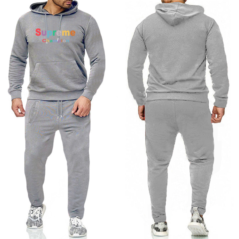 New Style Men Casual Sports Hoodie Suit Hot Sales Printed Letter Hooded Coat Two-Piece Set