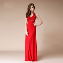 Formal Sleeveless Evening Dress Long Mermeid Red Prom Party Dresses Backless Beaded Mermaid Black
