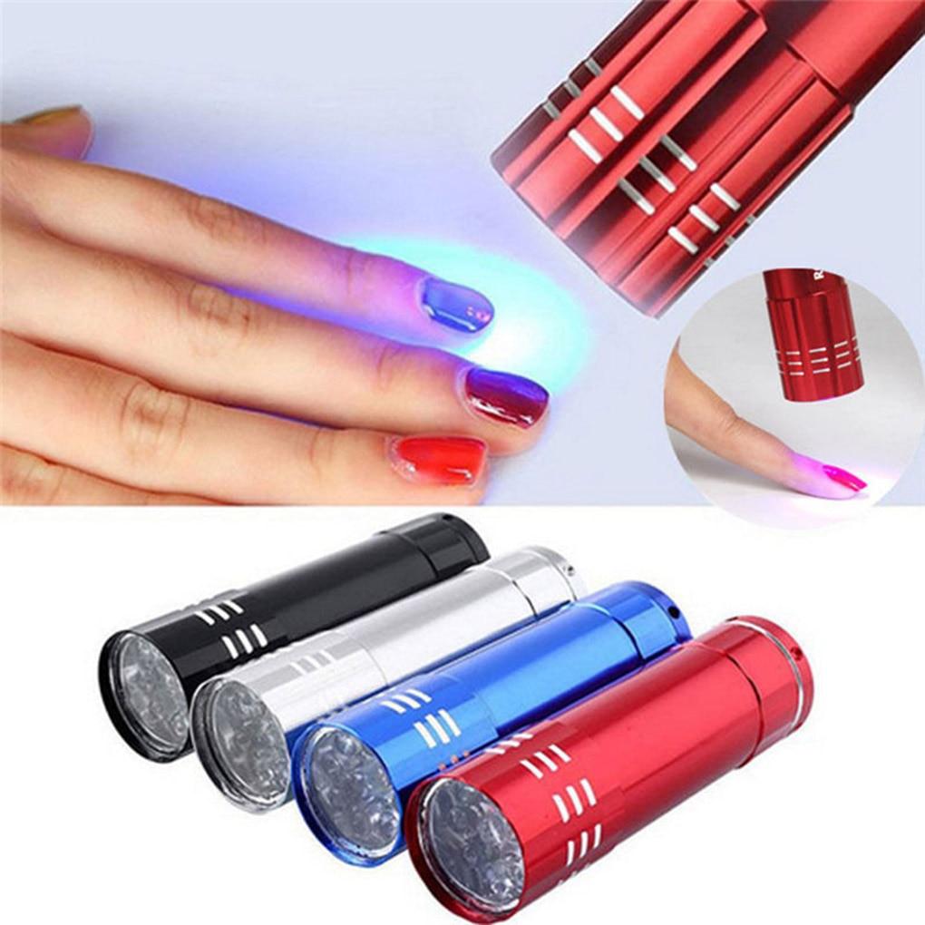 Nail Dryer Mini 9 LED Lights Flashlight UV Lamp Portable Nail Gel Mask Fast Drying Manicure Tool