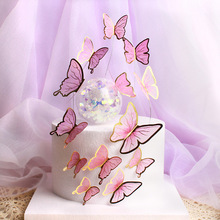 Butterfly Chiffon Valentine's Day Cake Toppers Pink Butterfly Birthday Cupcake Topper for Birthday Party Baking Cake Decorations
