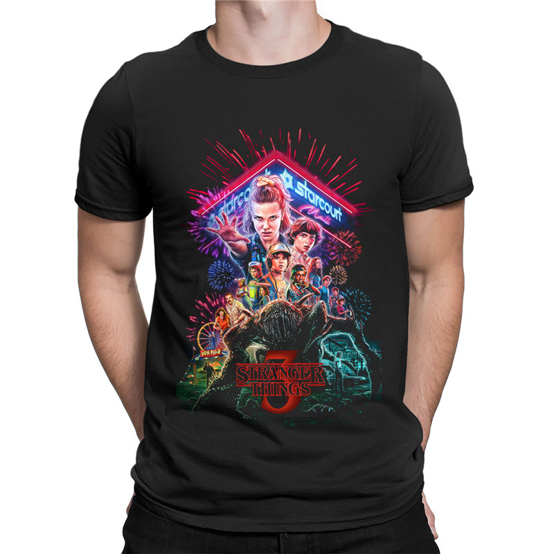 Nova T-Shirt Verão Homens Temporada 3 T-Shirt Das Mulheres Dos Homens 3D Impressão Coisas Estranhas Coisas Estranhas Camiseta Hipster T