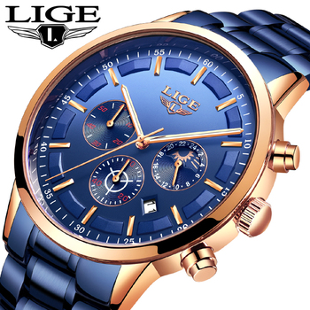 LIGE Модные Бизнес Мужские часы лучший бренд класса люкс полностью стальные водонепроницаемые кварцевые часы для мужчин Дата Moon Phase Спортивн...