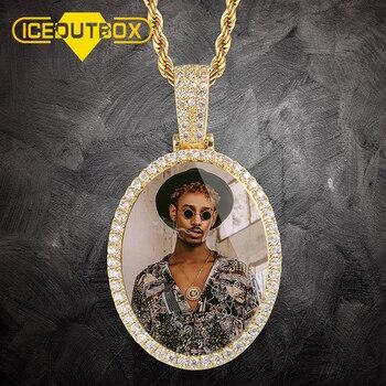 New Arrival niestandardowe zdjęcia owalne medaliony naszyjnik dla kobiet mężczyzn Iced Out Cubic cyrkon moda Hip Hop biżuteria prezent