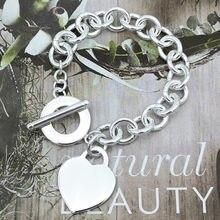 Bracelet classique en argent Sterling 925 pour femmes, étiquette cœur, chaîne O, bijoux pour Couple, cadeau de vacances romantique