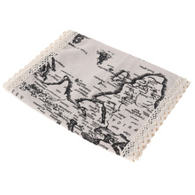Creative Microwave Oven Dust Cover Pastoral Cotton Microwave Towel 30X90CM (Map)