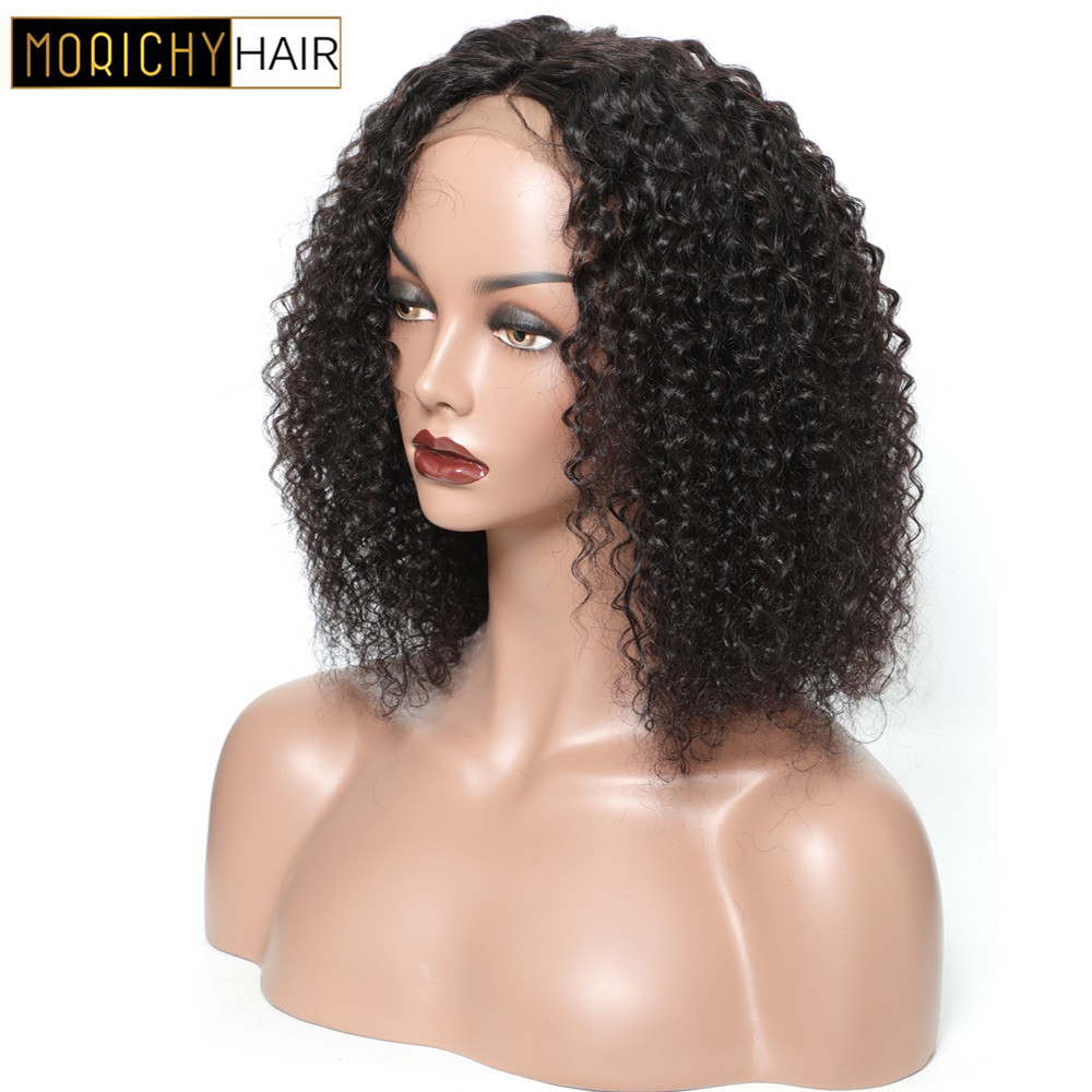 Morichy Brazilian Short Cut Bob Wigs Curly 4x4 Lace Closure Wigs Non-Remy Guleless Human Hair Wigswith Baby Hair 150% Density