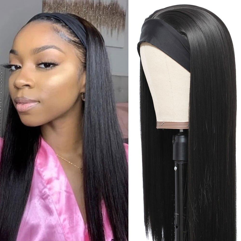 20 22 24 26 28 30inch Lange Gerade Stirnband Perücken Hitze Beständig Synthetische Haar Perücke Maschine Gemacht Perücke Für schwarz Frauen