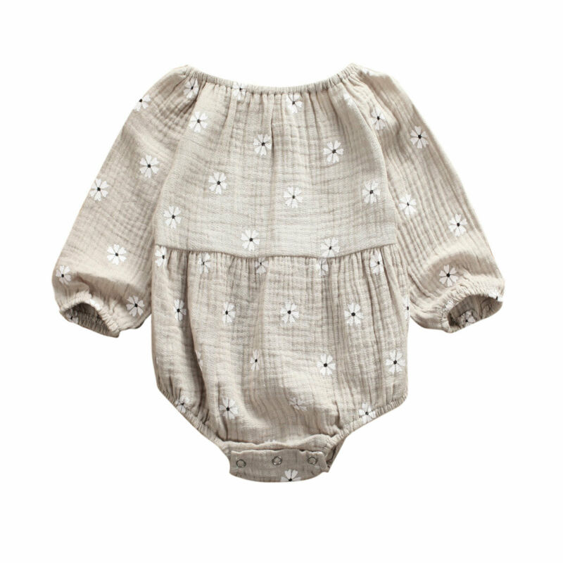 Cotton Linen Newborn Floral Romper Baby Girls Clothes Casual Bodysuit Long Sleeve Clothes Crew Neck Outfits 0-24 Months