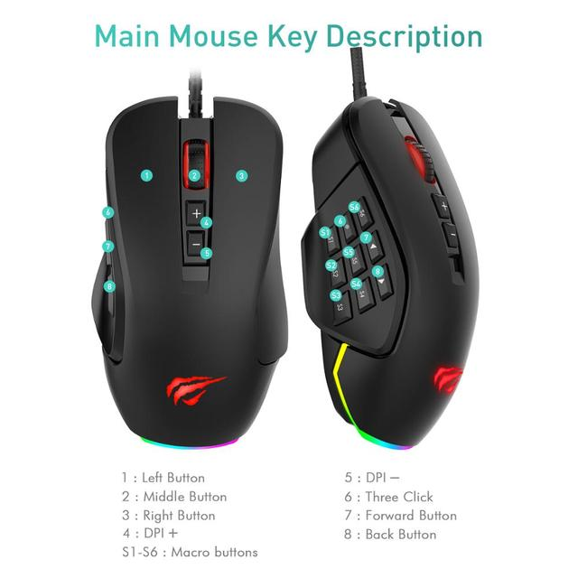 Havit Gaming Mouse 10000 DPI Wired Mice with 14 Programmable Buttons Interchangeable Side Plates , 2 Replaceable Right Plates 4