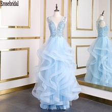 Erosebridal Sky Blue A Line Evening Dress Long Deep V Neck Beads Lace Body Long Formal Dress Evening Gown Party Women Wear