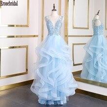 Erosebridal שמיים כחול קו שמלת ערב ארוך עמוק V צוואר חרוזים תחרה גוף ארוך פורמליות שמלת ערב שמלת מסיבת נשים ללבוש
