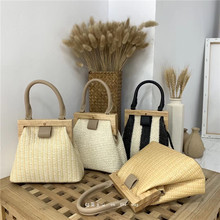 Vintage Woven Straw Bag Wooden Top Handle Clip Buckle Women Shoulder Messenger Clutch Purse Bolso Female Lady Handbag