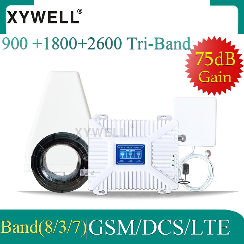 Cellular Amplifier Gsm Booster 900 1800 2600 GSM DCS LTE 2G 3G 4G Tri-Band Signal Repeater GSM Cellular Mobile Signal Booster