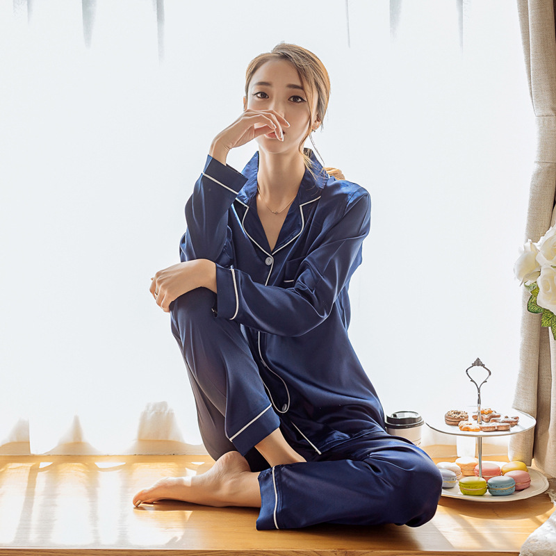 [Good Dream Divergent] Spring And Autumn Imitated Silk Fabric Long Sleeve Women's Sleepwear Female Summer Cardigan Plus-sized Eu