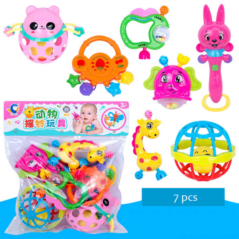 7pcs/set Baby Toys Baby Rattles Hand Bell Rattles Early Educational Toys Crib Mobile Baby Teether Toys For 0-12 Months Newbrons