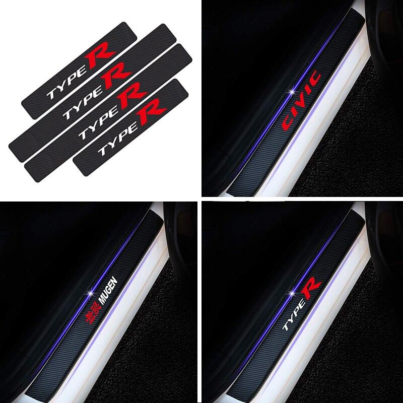 4PCS Car Carbon Fiber Door Sill Stickers For Honda Civic Fit Accord 8 7 Insight Pilot Mugen Type S R VTEC DOHC Auto Accessories