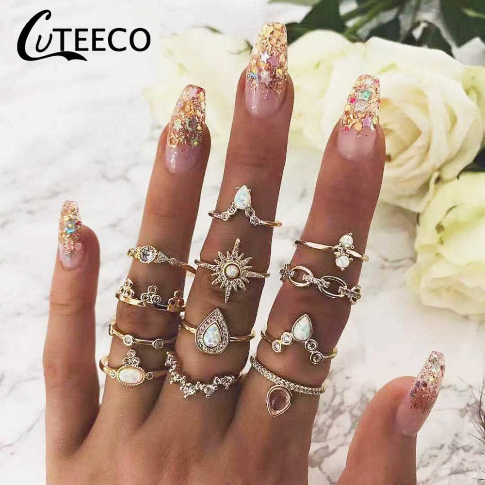 12 Pcs/set Bohe Vintage Crown Water Drops Stars Geometric Opal Crystal Ring Set Women Charm Joint Ring Party Wedding Jewelry