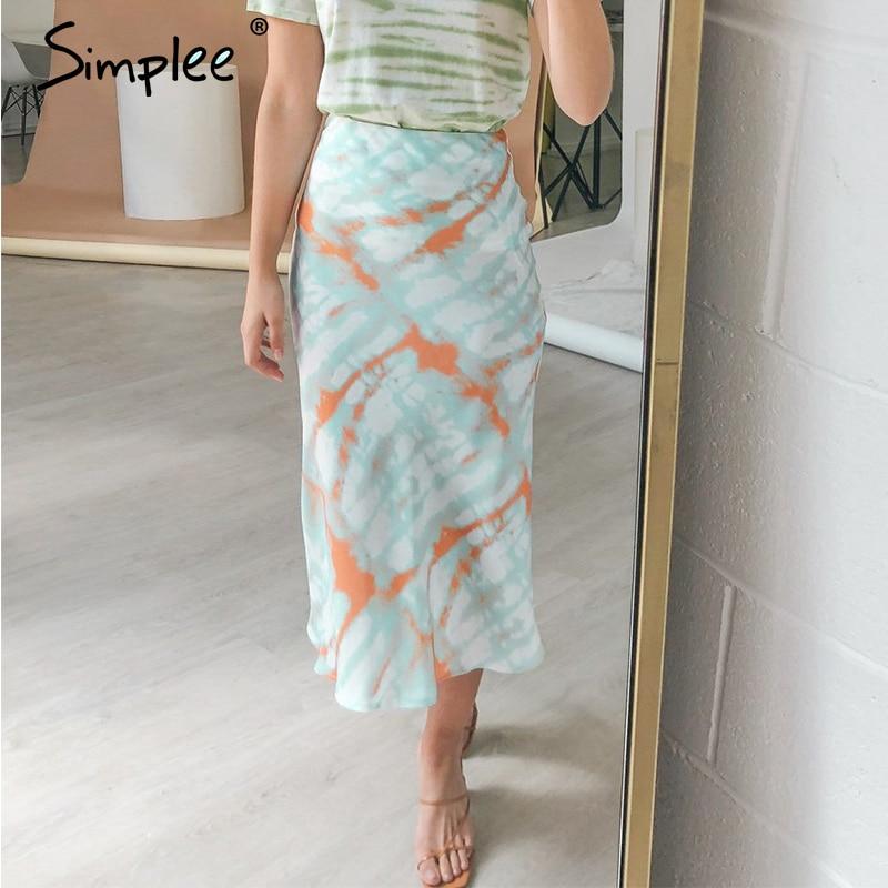 Simplee Tie Dye Print Midi Skirt Women Autumn Elastic High Waist Female Skirt Casual Streetwear Party Club Ladies Bottom Skirt