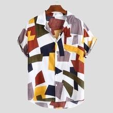 Мужские рубашки, гавайская Мужская блузка с принтом, топы, Повседневная Свободная рубашка с коротким рукавом и пуговицами, Мужская Уличная одежда, camisa masculina