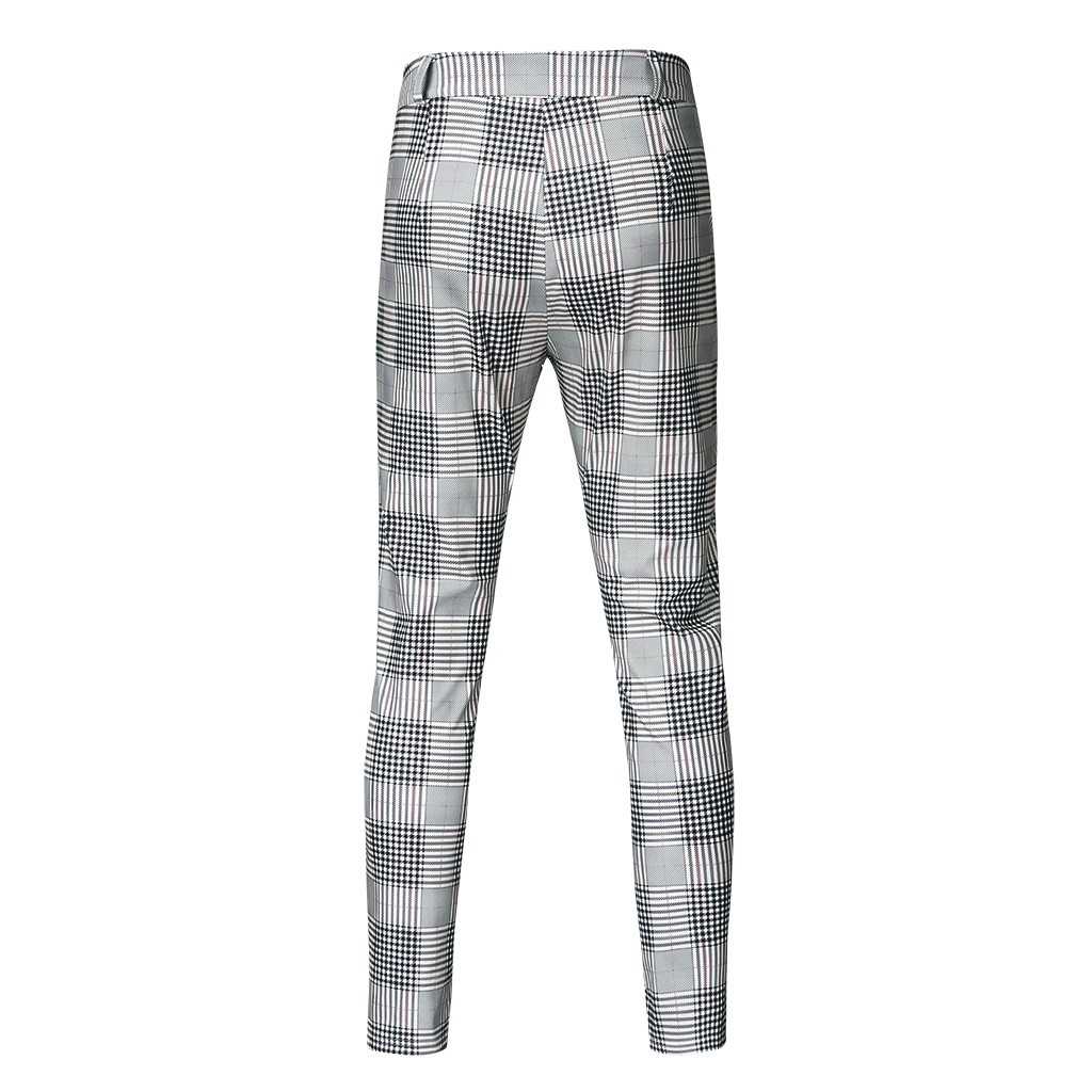 Pants Men's Pants Men's Pencil Pants Men's Casual Tight Plaid Print Elastic Slim Pants Men's Autumn Winter Trousers