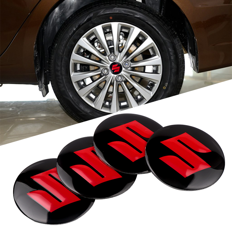 4pcs Car Accessories 56mm Car Wheel Center Hub Cap Cover Sticker Rim Emblem Badge For Suzuki Swift SX4 Vitara Jimny S-CROSS