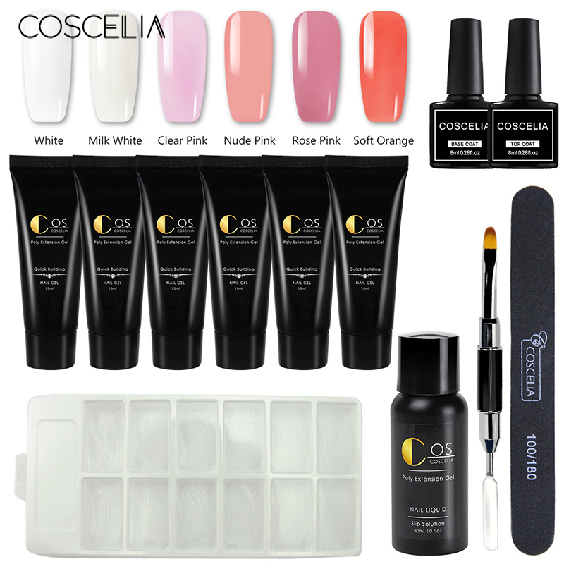 Coscelia 6 pc 15 ml poli gel kit construtor gel unha polonês conjunto tudo para manicure extensão conjunto de cristal cores ferramentas da arte do prego