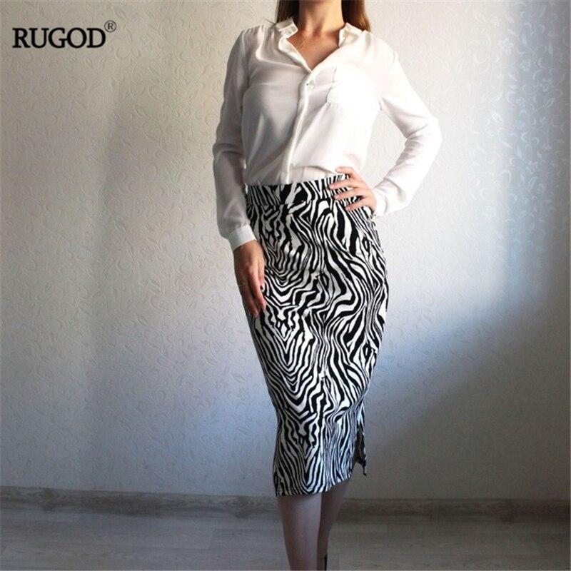 RUGOD New Fashion Women Zebra Skirt High Waist Slim Long Pencil Skirt Sexy High Street Temperament Classic Casual Female Skirt