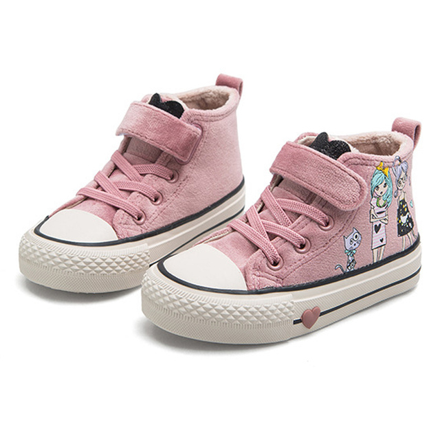 Kids Cotton Shoes 2020 New Winter Girls Plush Princess Shoes Cartoon Childrens Sneakers Cute Students Suede Boots Girls Tennis