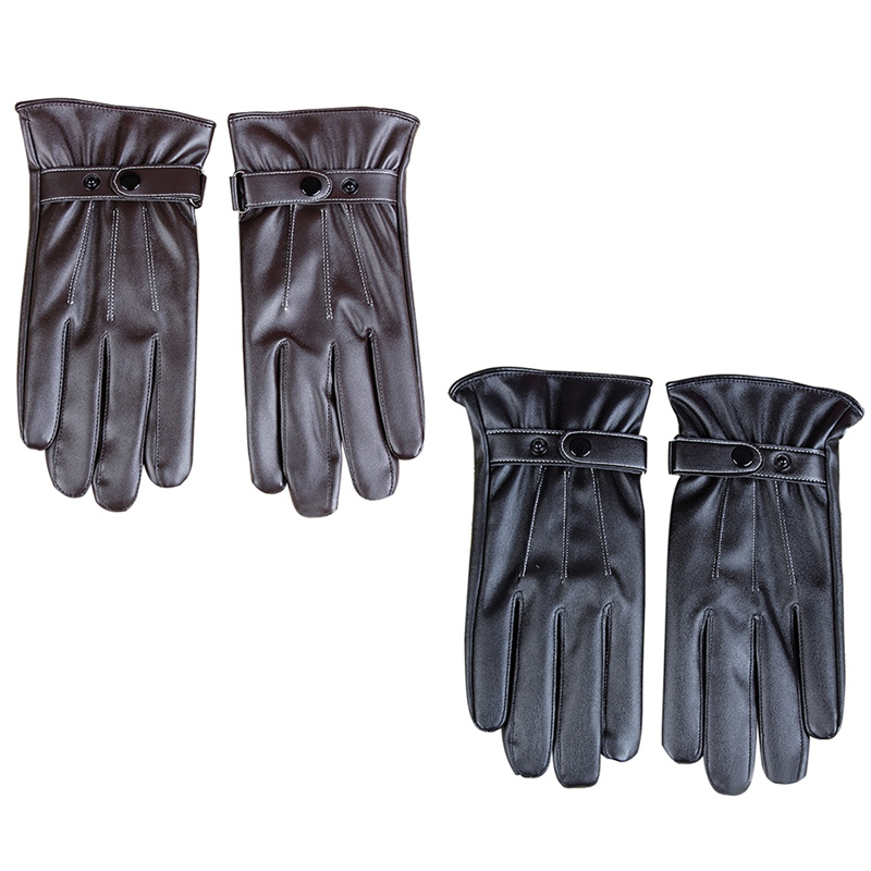 Mens Gloves Winter Warm Mittens Touch Screen Windproof Velvet Lining Driving Skiing Male PU Leather Gloves Black Brown New