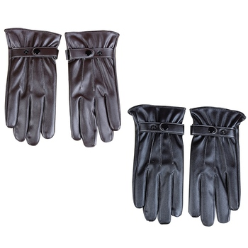 Mens Gloves Winter Warm Mittens Touch Screen Windproof Velvet Lining Driving Skiing Male PU Leather Gloves Black Brown New women winter touch screen gloves frill trim plus velvet faux leather mittens b95f