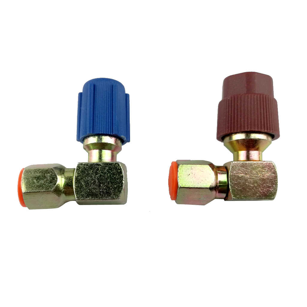 2 Pcs R12 To R134a 7/16 Adapter A/C High & Low Side Coupler Quick Disconnect Connector 90 Degrees Adapter Fitting Dropshipping